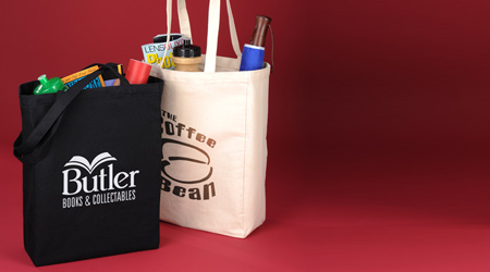 Promotional bags that includes reusable grocery totes